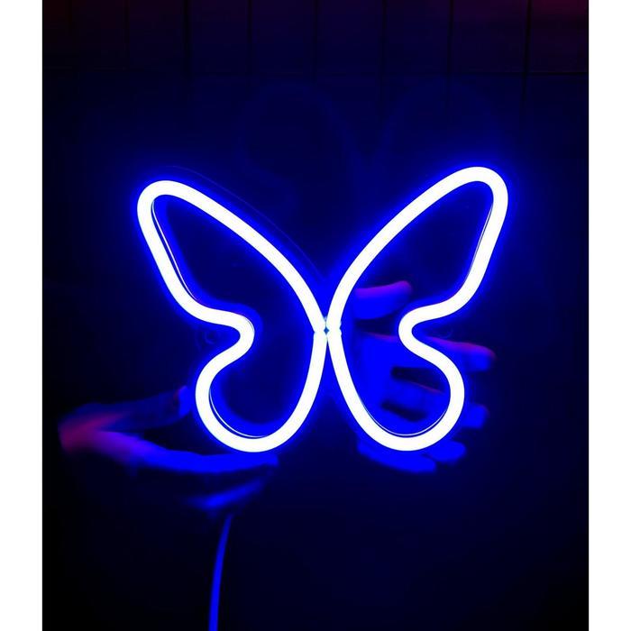 Неоновая вывеска «Бабочка», 23х18 см
