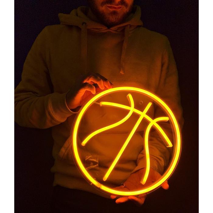 Неоновая вывеска «Баскетбольный мяч», 30х30 см