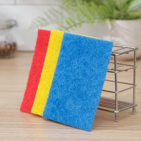 Набор салфеток жёстких для мытья посуды, раковин и плит Белая кветка, 3 шт