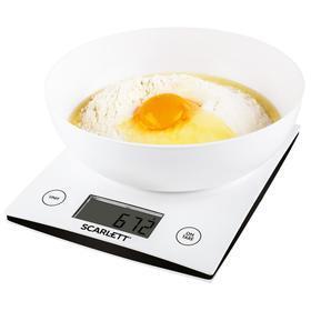 Весы кухонные Scarlett SC-KS57B10, электронные, до 5 кг, белые