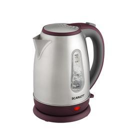 Чайник электрический Scarlett SC-EK21S89, металл, 1.7 л, 2200 Вт, серебристый/бордовый