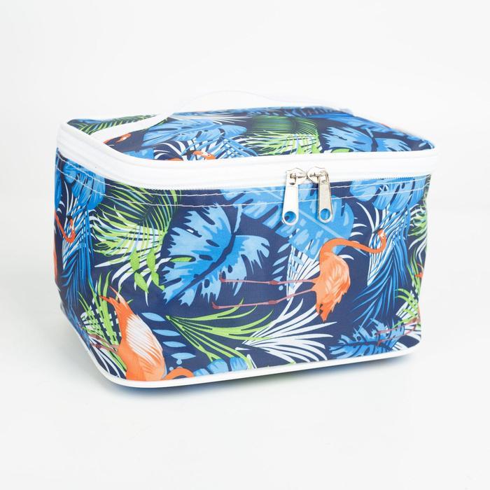 Косметичка-сундучок, отдел на молнии, цвет синий, Тропики