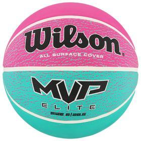 Мяч баск. WILSON MVP ELITE, арт.WTB1463XB06, р.6, резина, бутил.камера, бирюзово-фиолетово-ч