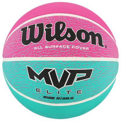 Мяч баскетбольный WILSON MVP ELITE, размер 6, резина, бутиловая камера, бирюзово-фиолетово-ч