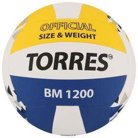 Мяч волейбольный TORRES BM1200, размер 5, синтетическая кожа (микрофибра), клееный, бутиловая камера, цвет белый/синий/жёлтый Ош
