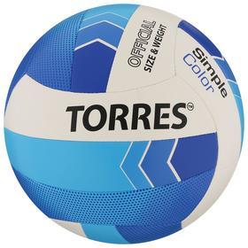 Мяч волейбольный TORRES Simple Color, размер 5, синтетическая кожа (ТПУ), машинная сшивка, бутиловая камера,бел