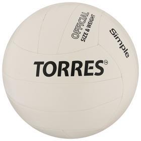 Мяч волейбольный TORRES Simple, размер 5, синтетическая кожа (ТПУ), машинная сшивка, бутиловая камера, бело-че