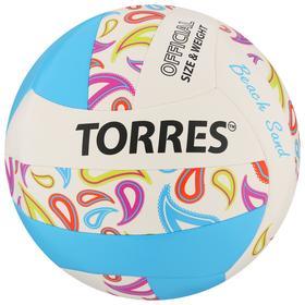 Мяч волейбольный пляжный TORRES Beach Sand Blue, размер 5, синтетическая кожа (ТПУ),машинная сшивка, бутиловая камера, бел-
