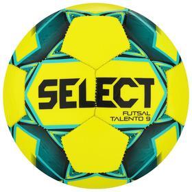 Мяч футзальный SELECT Futsal Talento 9, размер 2, 32 панели, ТПУ, машинная сшивка, цвет жёлтый/зелёный