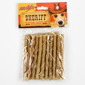 "Лакомство BraVa  Sheriff для собак сыромятная витая палочка 5"" 12,5см, 20 х 9-10 г"
