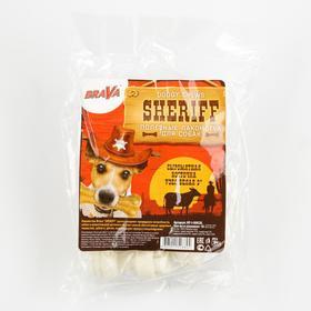 "Лакомство BraVa  Sheriff для собак сыромятная косточка узел, белая 3"" 7,5см, 10 х 10-12 г"