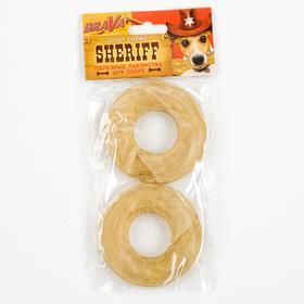 "Лакомство BraVa  Sheriff для собак сыромятное прес.кольцо 3"" 7,5см, 2х40-45 г"