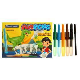 Фломастеры-блопены 5+1 цвет, Centropen 1500/5+1 AirPens Dinosaur