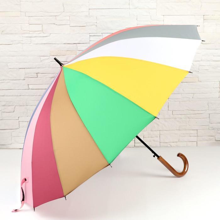 Зонт - трость автоматический «Радуга», 16 спиц, R = 52 см, разноцветный