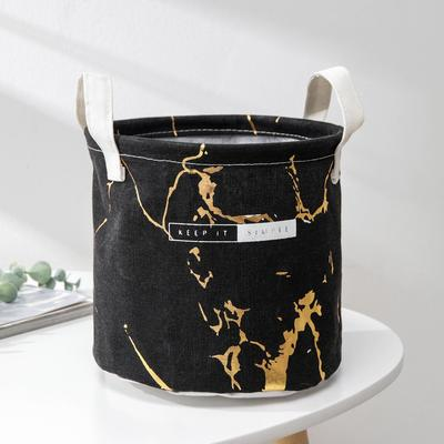 Корзина для мелочей Доляна «Мрамор», 20×20×24 см, цвет чёрный