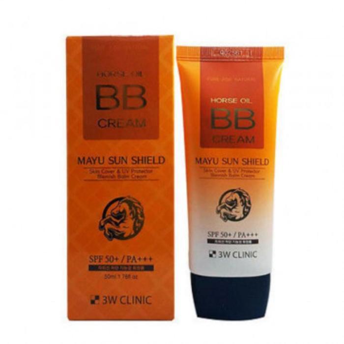 BB-крем для лица 3W CLINIC с лошадиным маслом, SPF 50+/PA +++, 50 мл