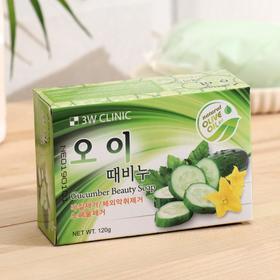 Мыло кусковое 3W Clinic Сucumber beauty soap, для лица и тела, с экстрактом огурца, 120 г