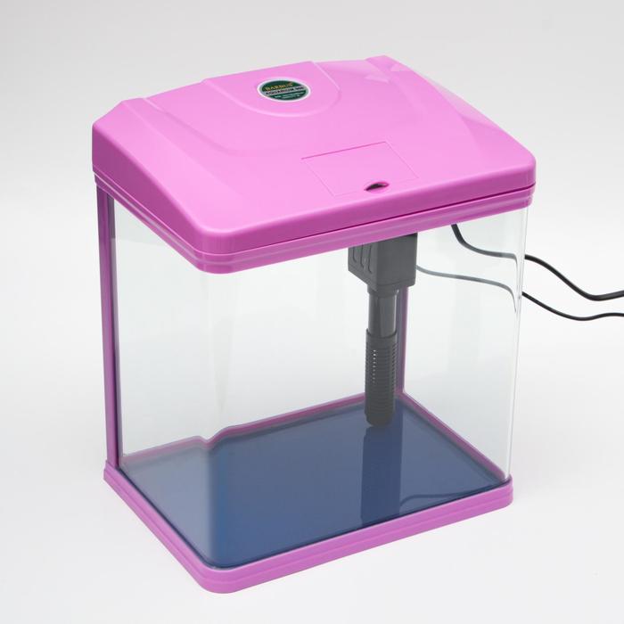 Аквариум BARBUS с фильтром и подсветкой LED, фиолетовый 9л