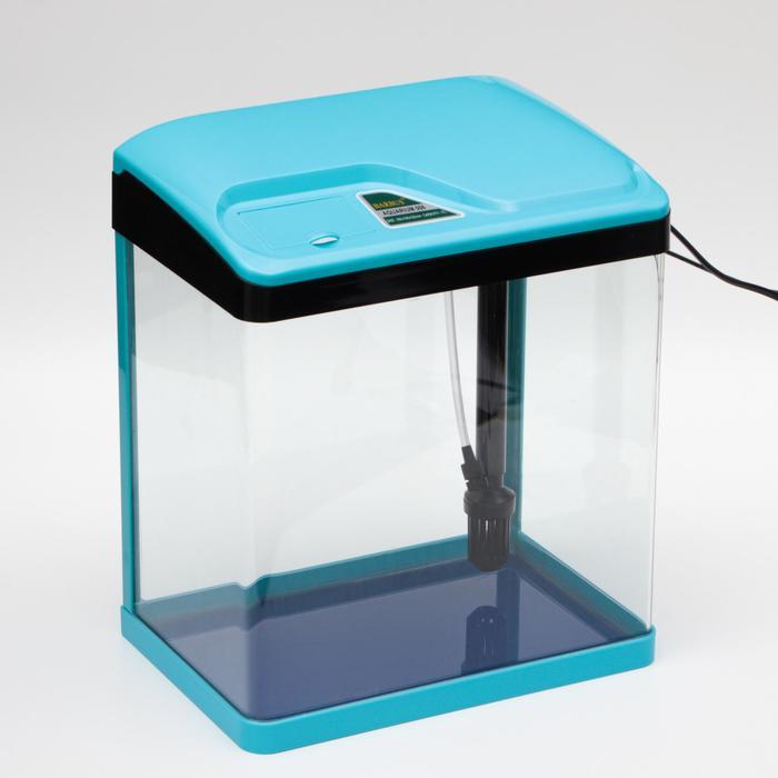 Аквариум BARBUS с фильтром и подсветкой LED, голубой 17л