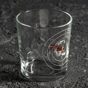 """Стакан """"Непробиваемый. Мишень"""", для виски, с пулей, гравировка, 250 мл"""