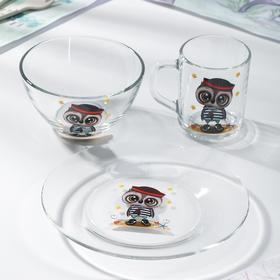 Набор для завтрака GiDGLASS «Приключения совят», 3 предмета: кружка 200 мл, салатник 450 мл, тарелка 20 см, МИКС