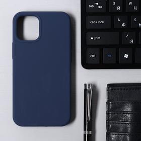 Чехол Krutoff, для iPhone 12 mini, матовый, темно-синий
