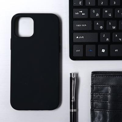 Чехол Krutoff, для iPhone 12/12 Pro, матовый, черный - Фото 1