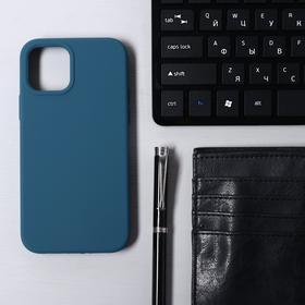Чехол Krutoff, для iPhone 12/12 Pro, матовый, синий