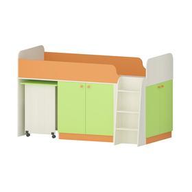 Кровать Карамель 77-04 2000х800 Бодега cветлый/Зелёный/Оранжевый Ош