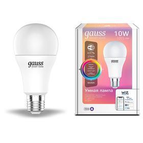 Лампа Светодиодная Gauss Smart Home RGBW, А60, Е27, 10 Вт, 2700-6500 К