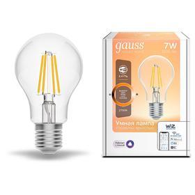 Лампа светодиодная филаментная Gauss Smart Home DIM, А60, Е27, 7 Вт, 2700 К