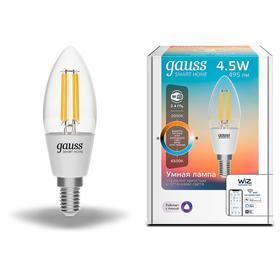 Лампа светодиодная филаментная Gauss Smart Home DIM+CCT, С35, Е14, 4.5 Вт, 2000-6500К
