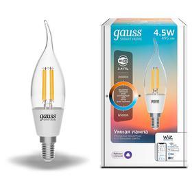 Лампа светодиодная филаментная Gauss Smart Home DIM+CCT, CF35, Е14, 4.5 Вт, 2000-6500К