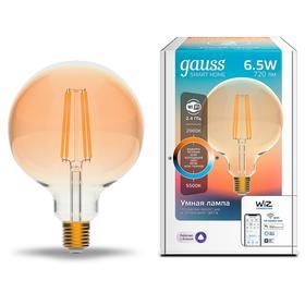 Лампа светодиодная филаментная Gauss Smart Home DIM DIM+CCT Golden, G95,Е27,6.5Вт,2000-5500К   69180