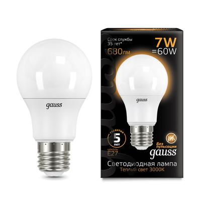 Лампа светодиодная Gauss, A60, Е27, 7 Вт, 3000 К, 680 Лм