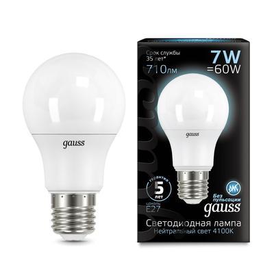 Лампа светодиодная Gauss, A60, Е27, 7 Вт, 4100 К, 710 Лм