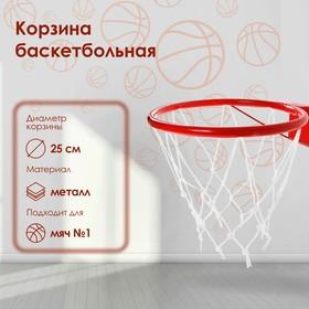Корзина баскетбольная №1, d=250 мм, с упором и сеткой Ош
