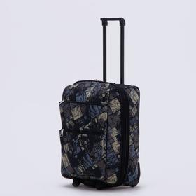 """Чемодан малый 20"""", отдел на молнии, с расширением, наружный карман, 2 колеса, цвет чёрный"""