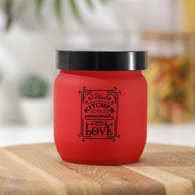 Банка для сыпучих продуктов «Любовь на кухне», 425 мл, цвет красный