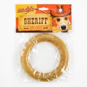 """Лакомство BraVa  Sheriff для собак сыромятное прес.кольца 6"""" 15см, 130-140 г"""