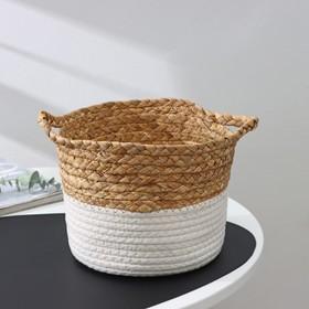 Корзина для хранения плетёная Доляна «Мэни», 20×20×15,5 см, цвет белый