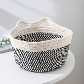 Корзина для хранения плетёная Доляна «Кэтс», 22×22×12,5 см, цвет чёрно-белый