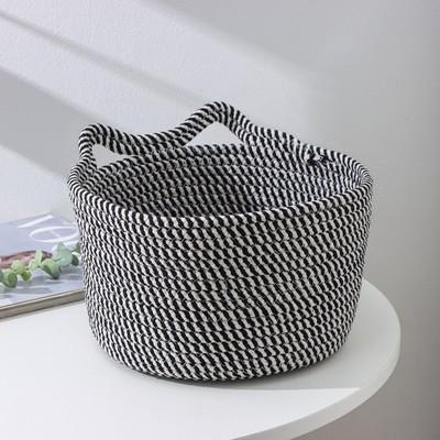Корзина для хранения плетёная Доляна «Кэтс», 26×26×15,5 см, цвет чёрно-белый