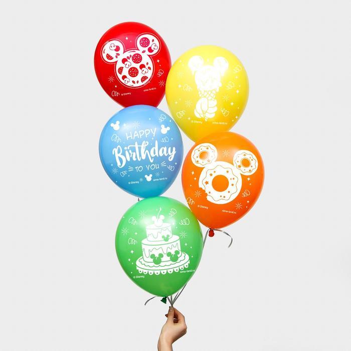 "Воздушные шары ""Happy Birthday"", Микки Маус (набор 5 шт) 12 дюйм"