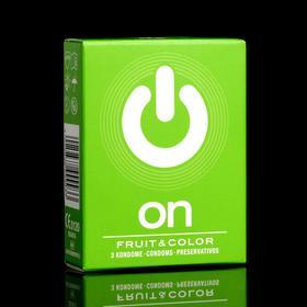 Презервативы ON цветные, ароматизированные, ширина 54mm, 3 шт