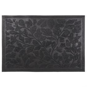 Коврик резиновый «Листва», 40х60 см, цвет чёрный