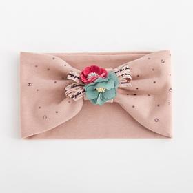 Повязка для девочки «Букет», цвет светло-розовый, размер 48-54 (2-7 лет)