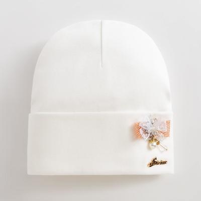 """Шапка  для девочки """"Жемчужина"""", цвет молочный, размер 52-54 (5-7 лет) - Фото 1"""
