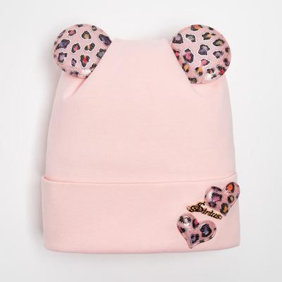 """Шапка  для девочки """"Ушки"""", цвет розовый, размер 50-52 (3-5 лет) - Фото 1"""