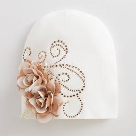 """Шапка  для девочки """"Розы"""", цвет белый, размер 52-54 (5-7 лет)"""